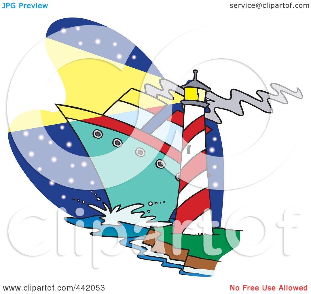RoyaltyFree RF Clip Art Illustration Of A Cartoon Big Ship Near - Big cartoon house