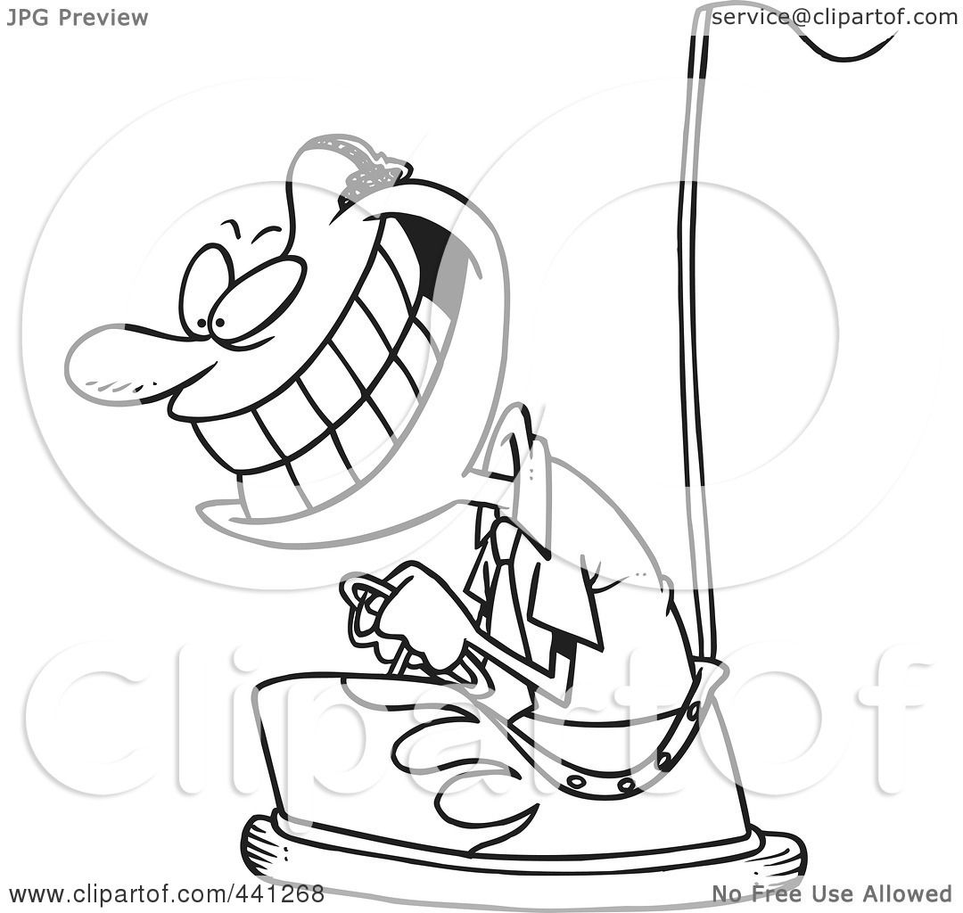 Design of a car bumper - Royalty Free Rf Clip Art Illustration Of A Cartoon Black And White Outline Design Of A Black Businessman Driving A Bumper Car By Toonaday