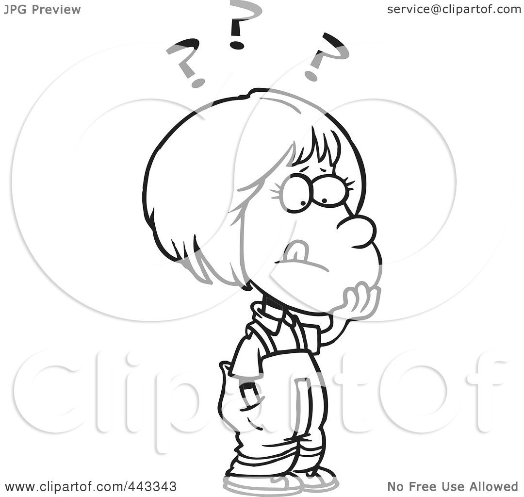 Deciding stock illustrations royalty free gograph - Royalty Free Rf Clip Art Illustration Of A Cartoon Black And White Outline Design Of A Girl Deciding By Toonaday