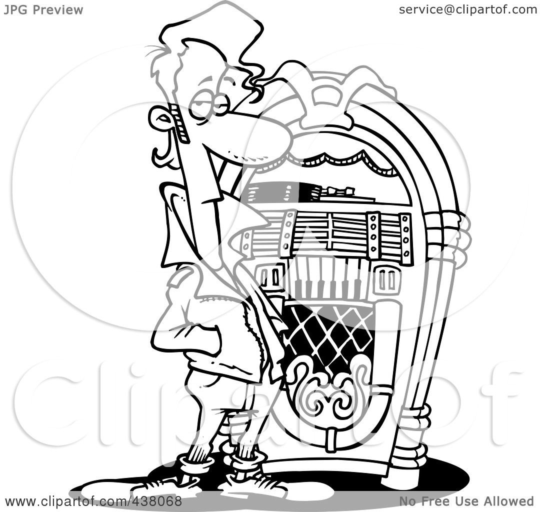 Line Art Jukebox : Royalty free rf clip art illustration of a cartoon black