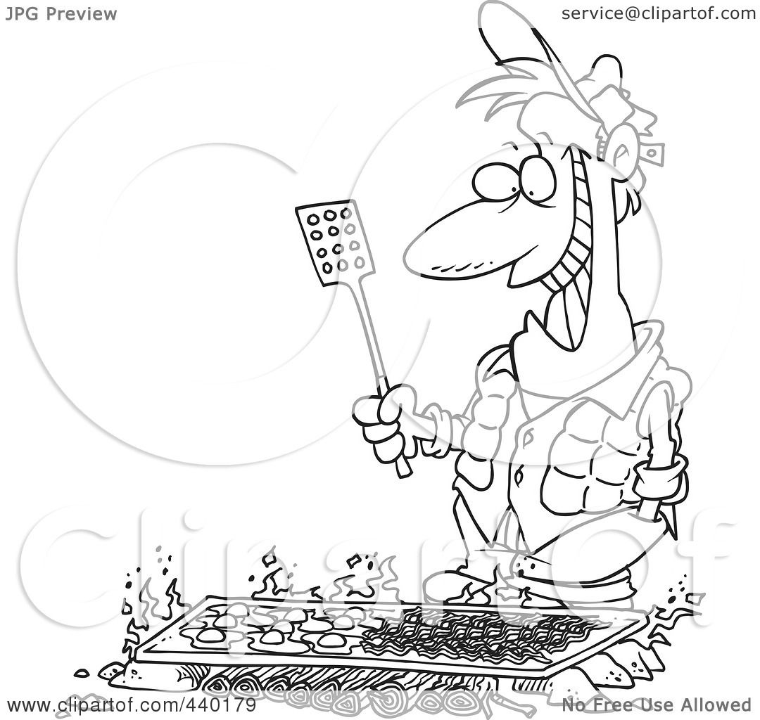 Royalty Free RF Clip Art Illustration Of A Cartoon Black And White Outline Design Man Cooking On Griddle Over Camp Fire By Toonaday
