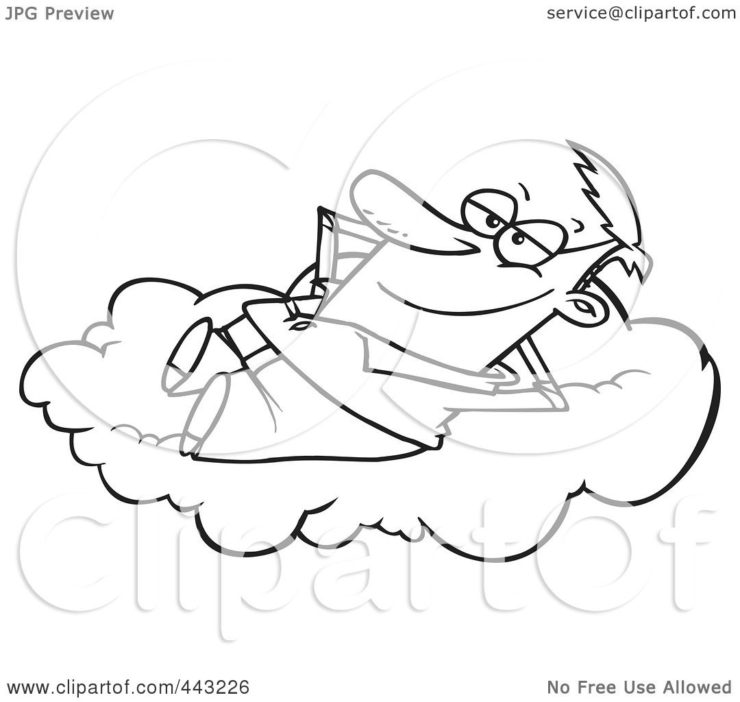 Royalty Free RF Clip Art Illustration Of A Cartoon Black And White Outline Design Man Daydreaming On Cloud By Toonaday