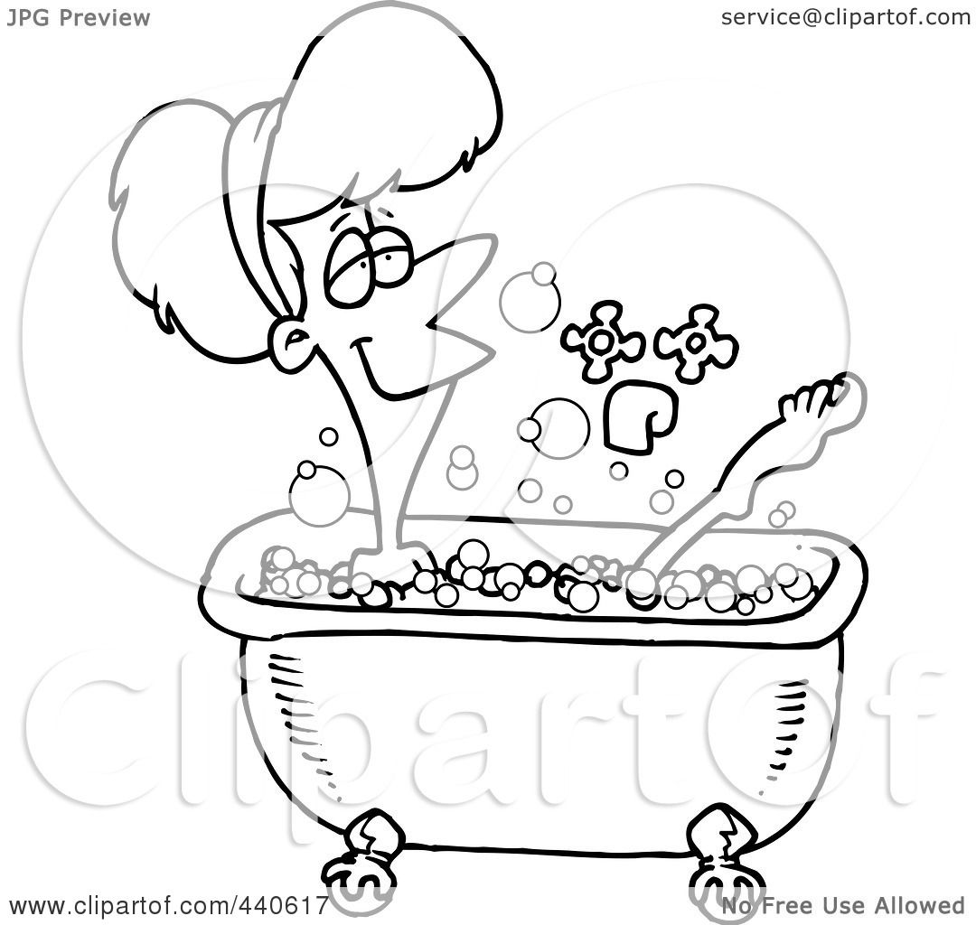 Bathroom Clip Art Black And White: Royalty-Free (RF) Clip Art Illustration Of A Cartoon Black