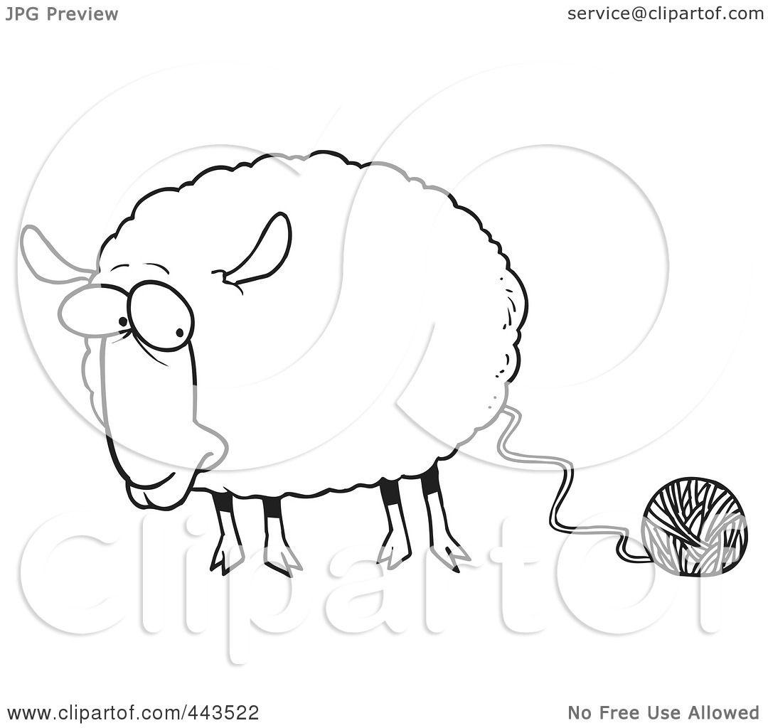 Line Drawing Yarn : Royalty free rf clip art illustration of a cartoon black