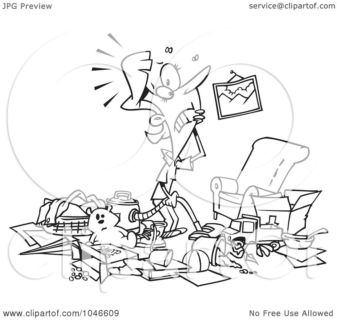 Messy Room Clip Art Black and White