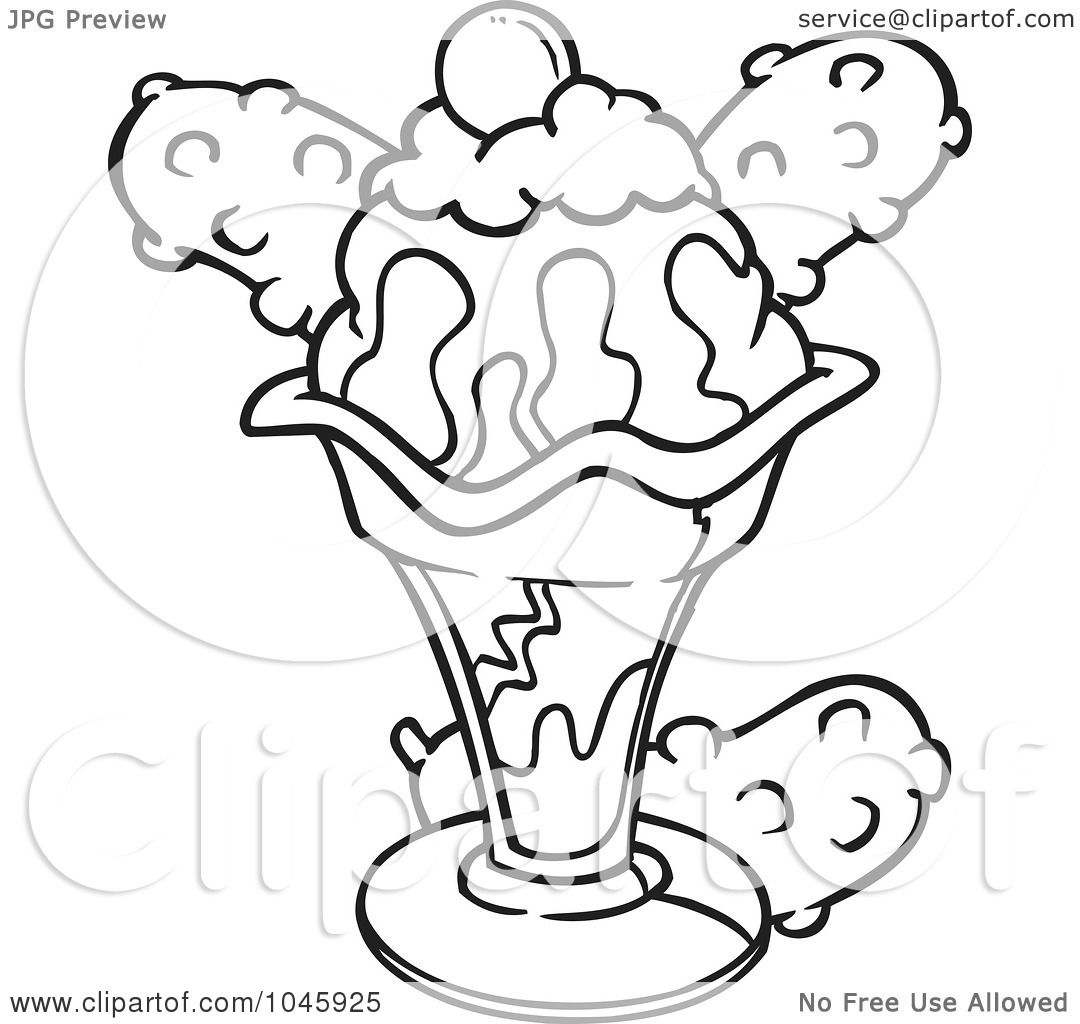 Free coloring pages ice cream sundae - Royalty Free Rf Clip Art Illustration Of A Cartoon Black And White Outline Design Of An Ice Cream Sundae By Ron Leishman