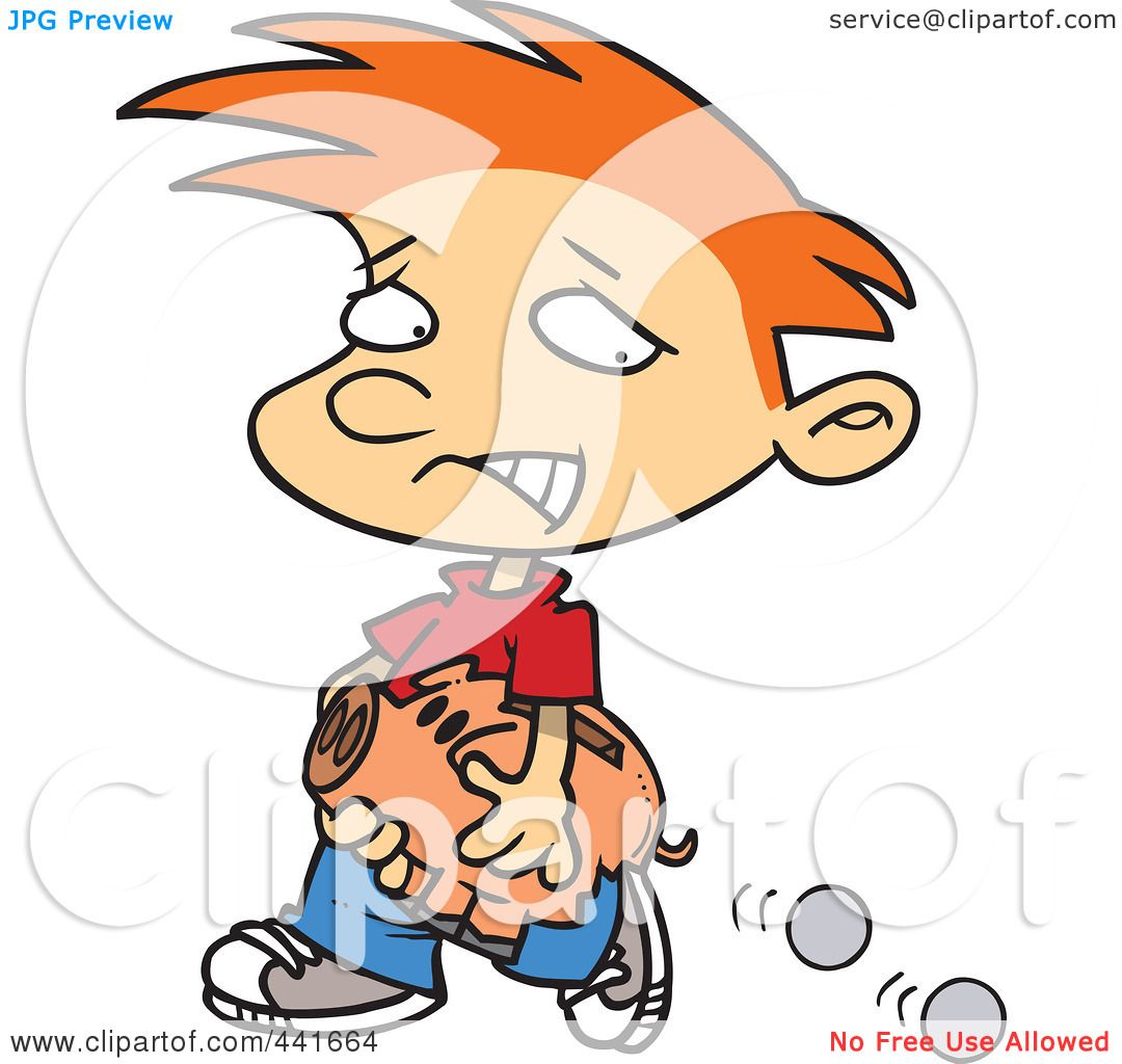 Royalty-Free (RF) Clip Art Illustration of a Cartoon Boy Losing Coins From His Piggy ...