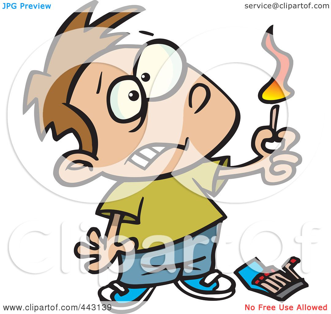 Royalty-Free (RF) Clip Art Illustration of a Cartoon Boy Playing ... for Matches Clip Art  104xkb