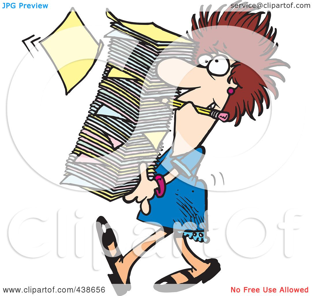 royalty free rf clip art illustration of a cartoon businesswoman rh clipartof com office paperwork clipart paperwork overload clipart