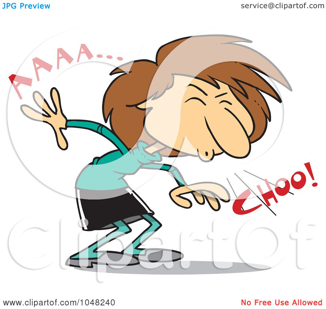 royalty free clipart picture of a businesswoman sneezing on a white ...