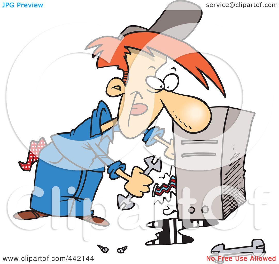 Royalty-Free (RF) Clip Art Illustration of a Cartoon Computer Repair ...