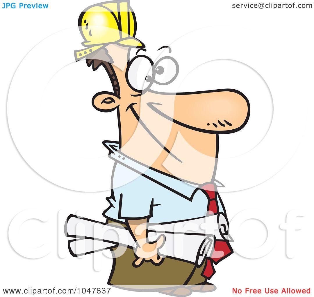 Construction Manager Cartoon : Royalty free rf clip art illustration of a cartoon