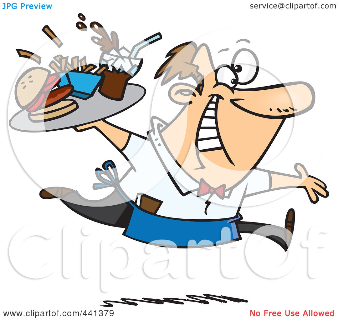 https://images.clipartof.com/Royalty-Free-RF-Clip-Art-Illustration-Of-A-Cartoon-Energetic-Waiter-Serving-Fast-Food-1024441379.jpg