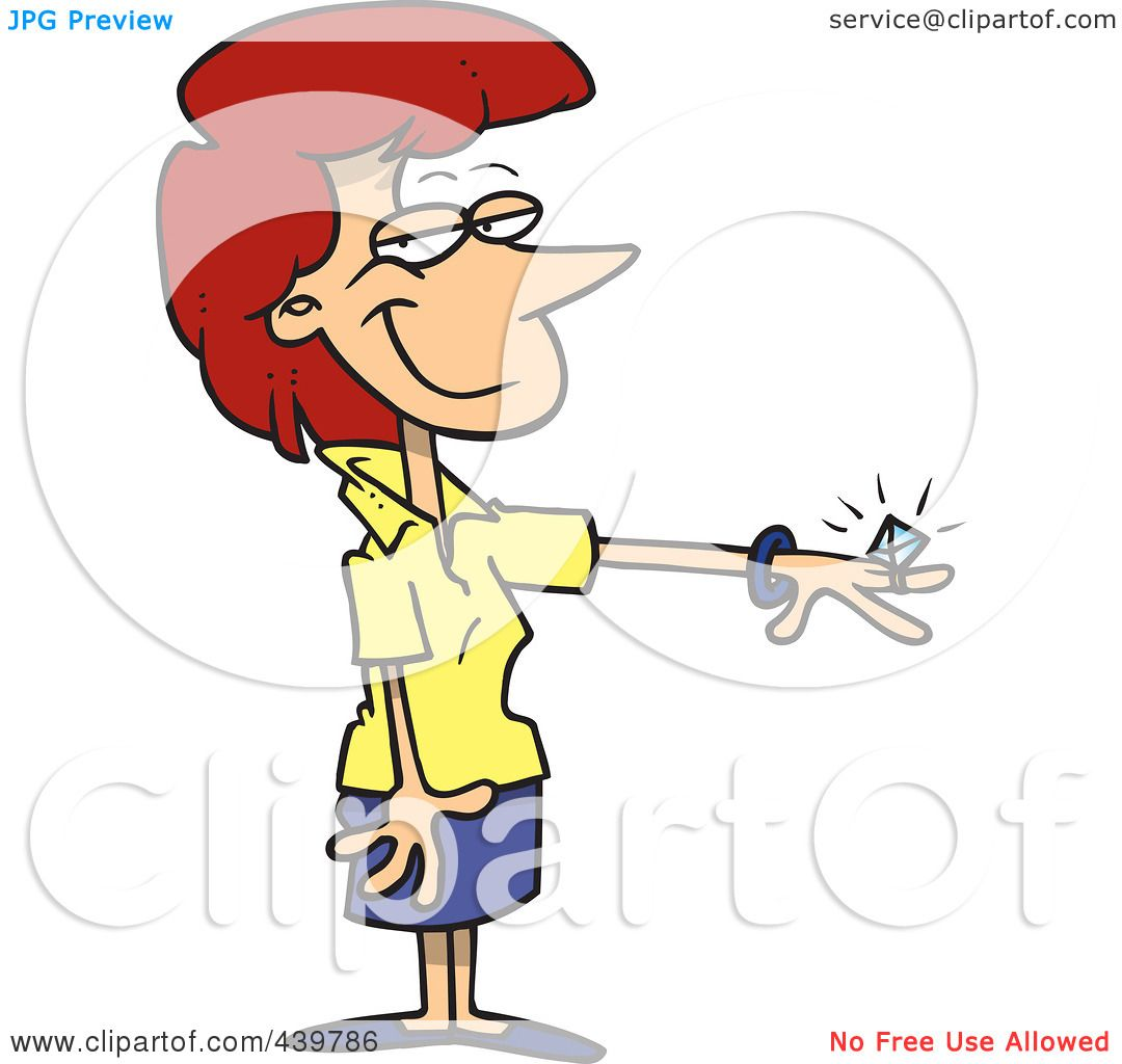 ... Clip-Art-Illustration-Of-A-Cartoon-Engaged-Woman-Showing-Her-Ring