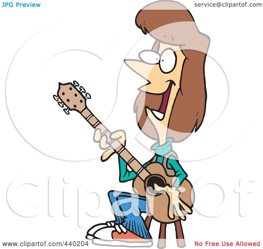 Cartoon Girl Playing Guitar In Isolated Background Stock ...  Cartoon Girl Guitarist