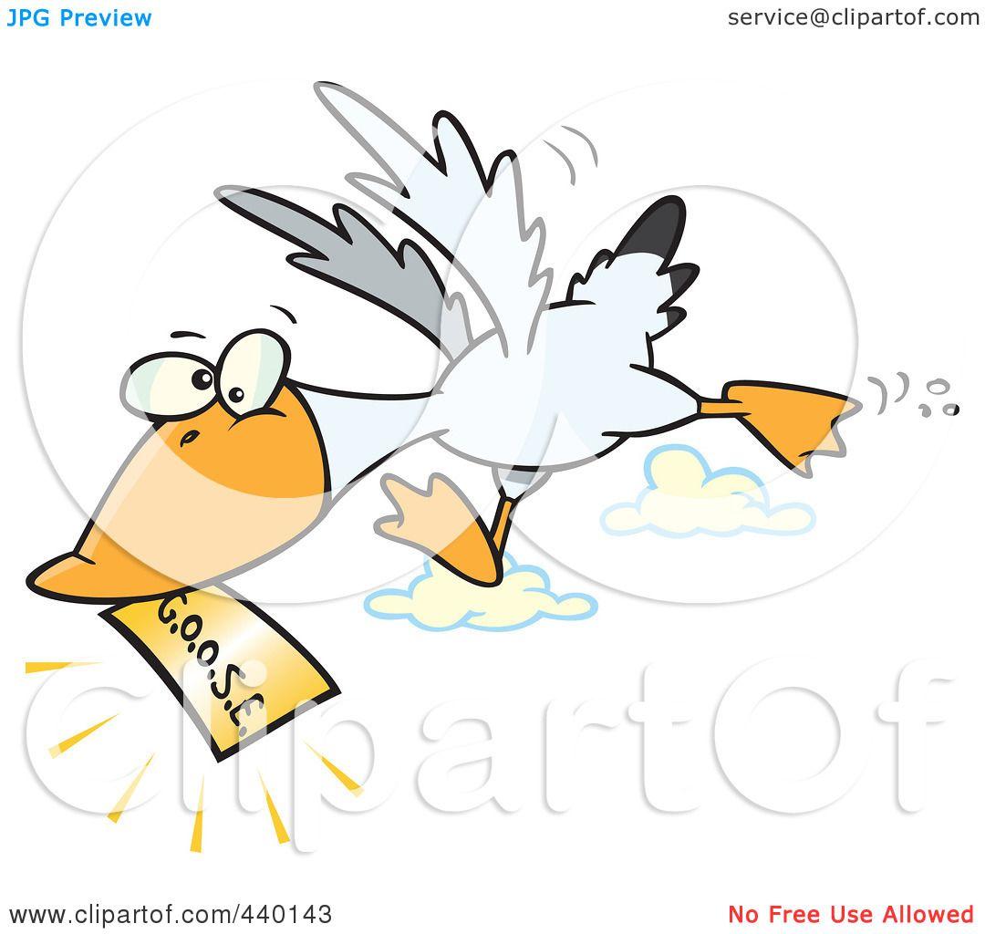 Royalty-Free (RF) Clip Art Illustration of a Cartoon Goose Flying ...