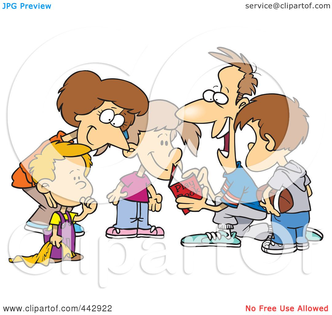 Royalty-Free (RF) Clip Art Illustration Of A Cartoon Huddled Family Reading A Football Play Book