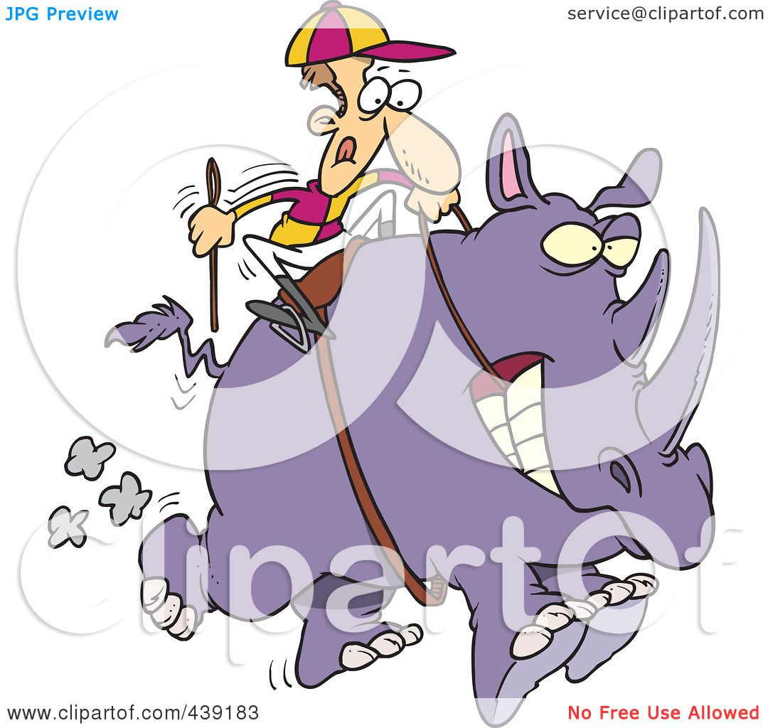 Royalty Free RF Clip Art Illustration Of A Cartoon Jockey Riding Rhino By Toonaday