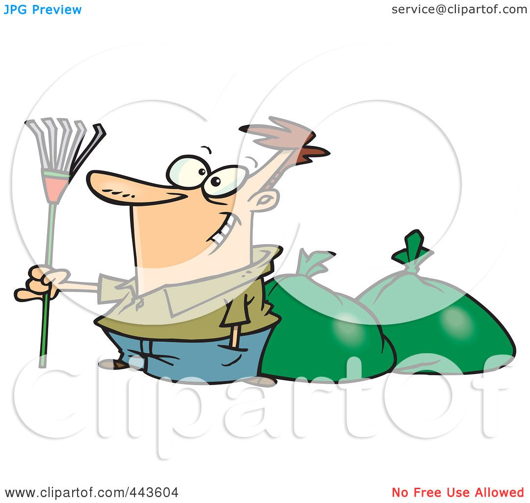 Cartoon Rake And Leaves Man finished raking leaves