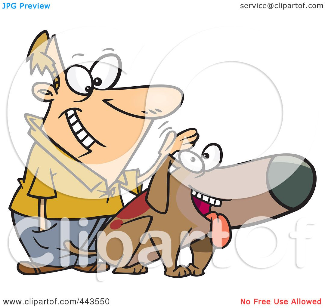 Royalty-Free (RF) Clip Art Illustration of a Cartoon Man Patting His Dog by toonaday ...