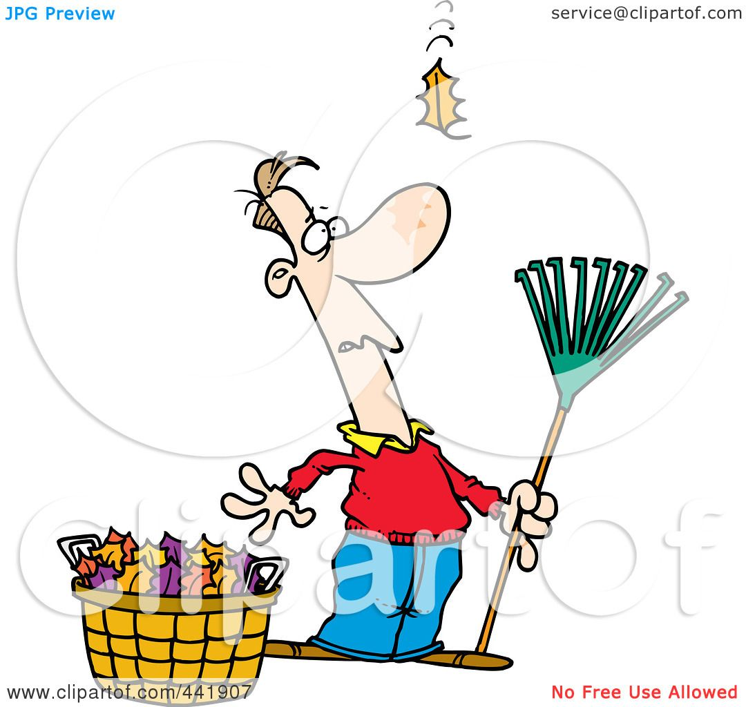 royalty free rf clip art illustration of a cartoon man raking rh clipartof com leaf raking clipart boy raking leaves clipart