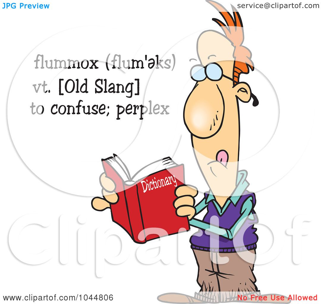 (RF) Clip Art Illustration of a Cartoon Man Reading The Definition ...