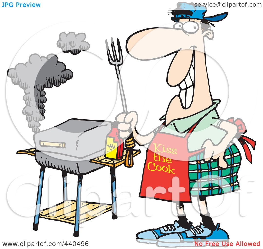 Funny Bbq Grill Cartoon Of a cartoon man standing