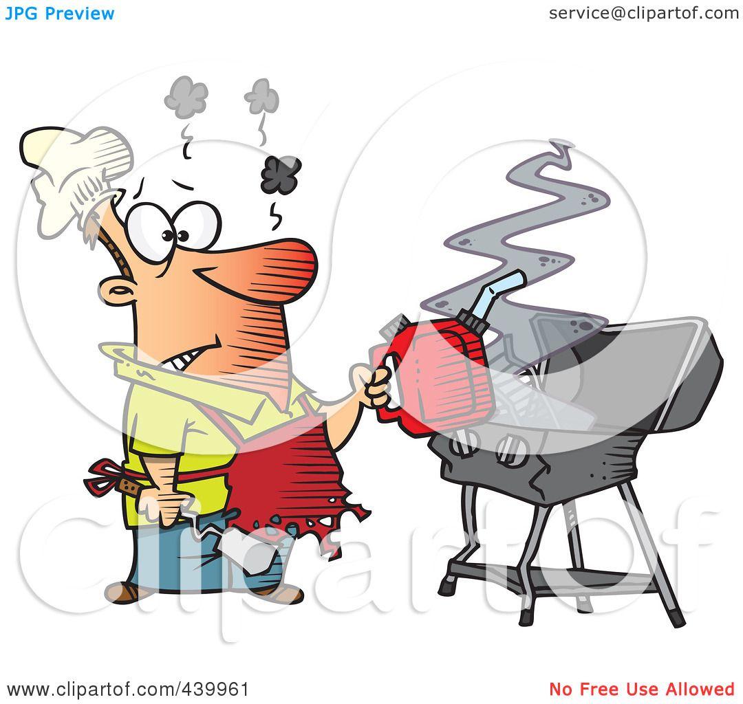 Funny Bbq Grill Cartoon A cartoon man using a gas