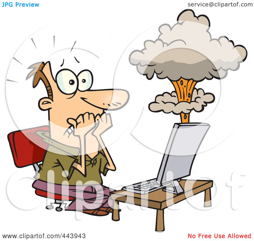 Royalty-Free (RF) Clip Art Illustration of a Cartoon Man\'s Laptop ...