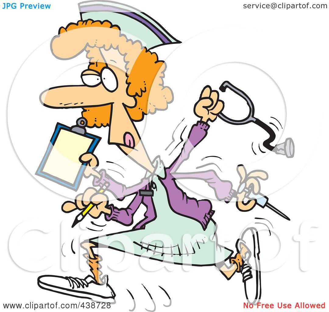 Royalty Free RF Clip Art Illustration Of A Cartoon Multitasking Nurse By Ron Leishman 438728