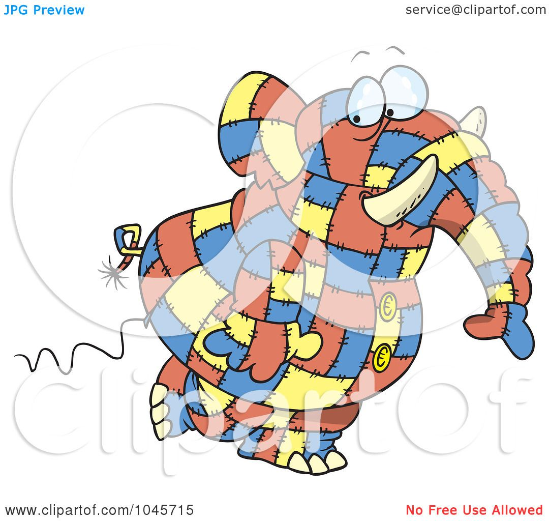 Patchwork Elephant Cartoon