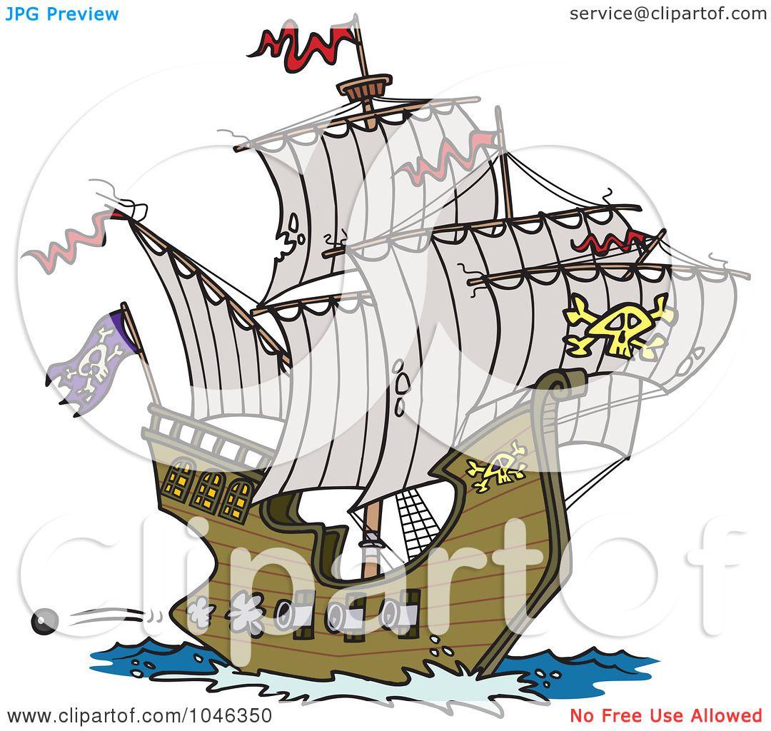 royalty free rf clip art illustration of a cartoon pirate ship
