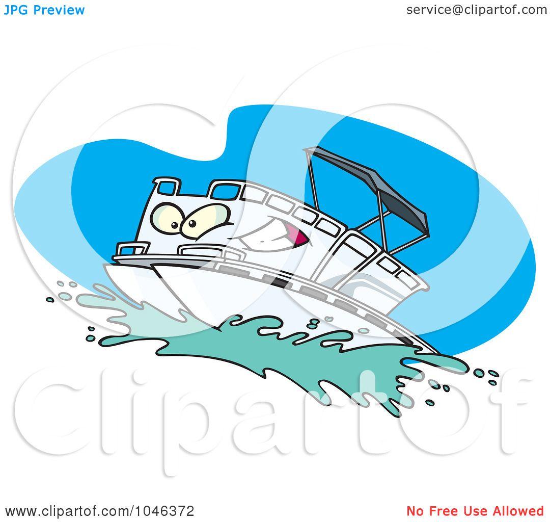Popular Royalty-Free (RF) Clip Art Illustration of a Cartoon Pontoon Boat  EU06