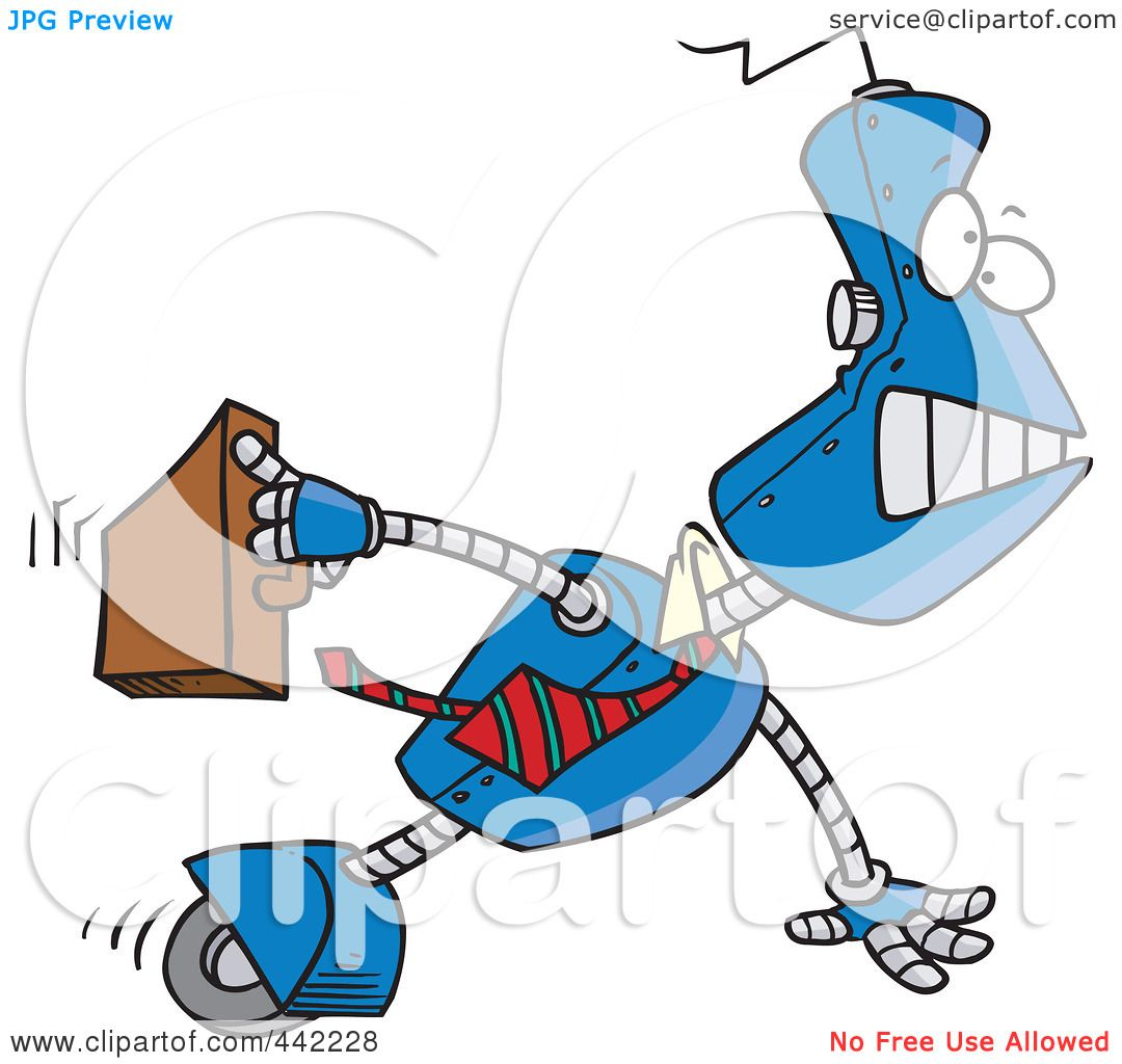 Executive Cartoon: Royalty-Free (RF) Clip Art Illustration Of A Cartoon Robot