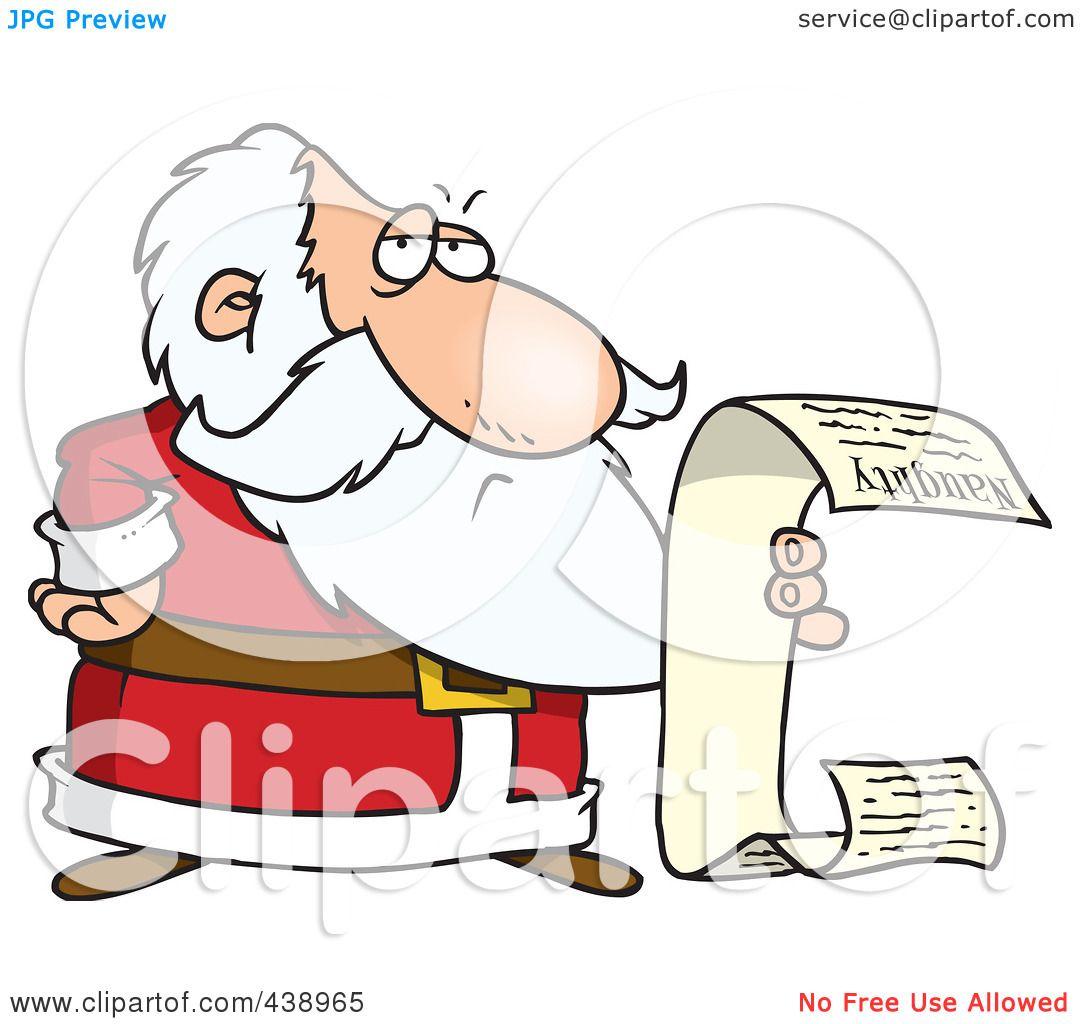 Royalty-Free (RF) Clip Art Illustration of a Cartoon Santa Reading ...