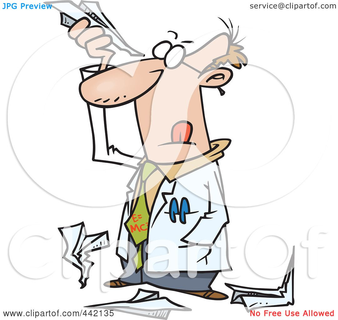 royalty rf clip art illustration of a cartoon scientist royalty rf clip art illustration of a cartoon scientist researching paper airplanes by ron leishman