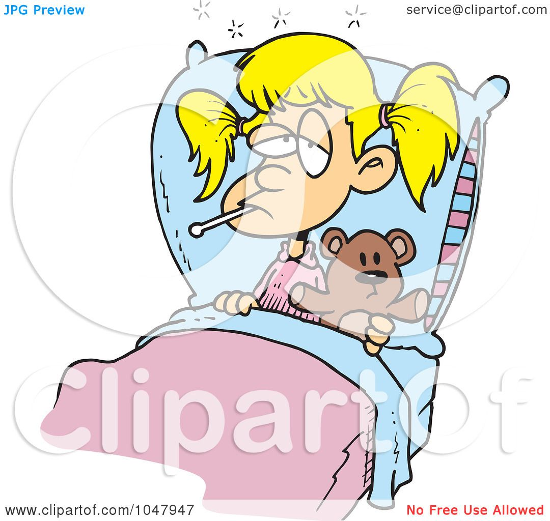 Royalty Free RF Clip Art Illustration Of A Cartoon Sick Girl With Her Teddy Bear In Bed By