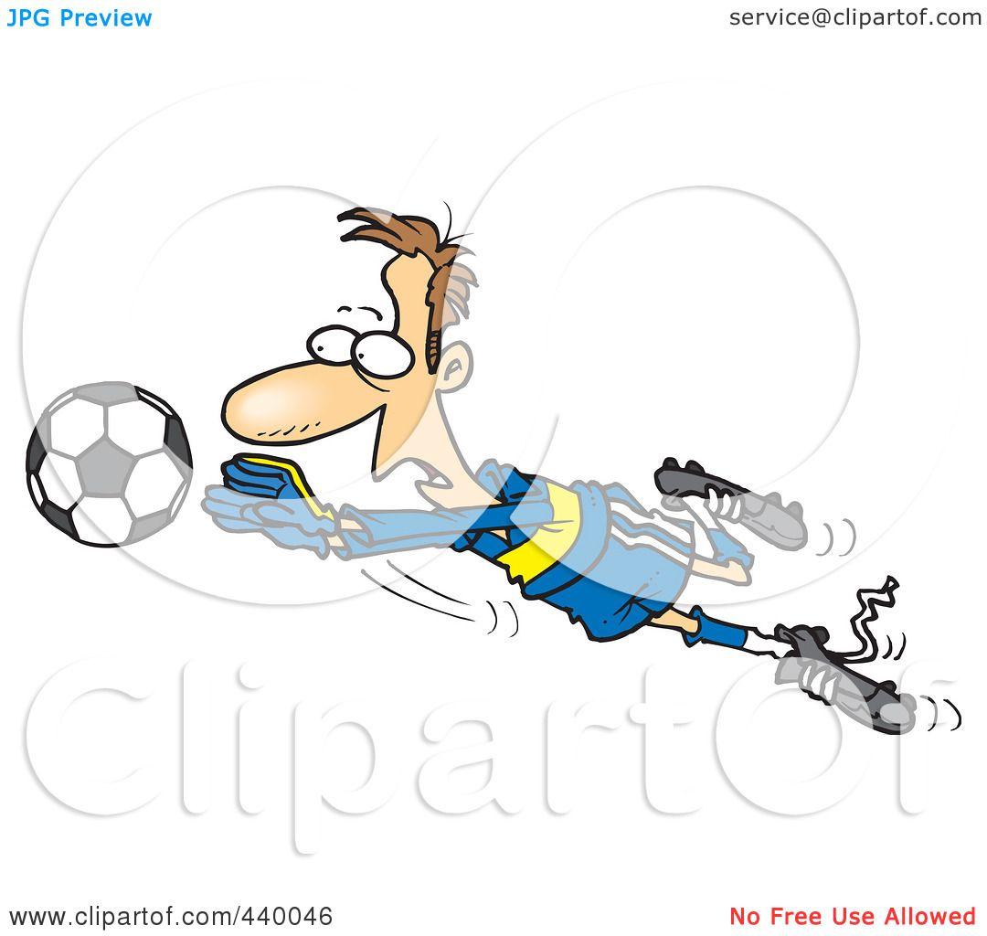 Royalty-Free (RF) Clip Art Illustration of a Cartoon Soccer Goalie Leaping Towards A ...