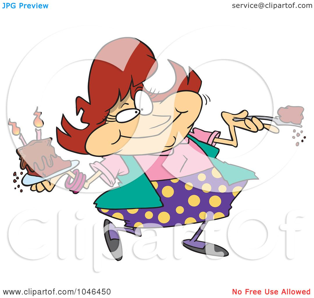 RoyaltyFree RF Clip Art Illustration of a Cartoon Woman Eating