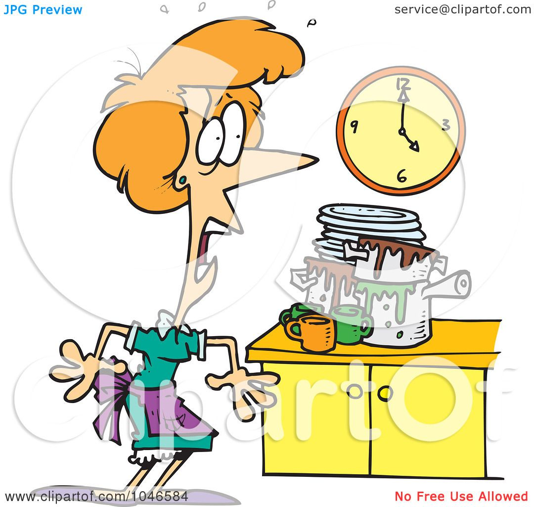 Funny Messy Kitchen: Royalty-Free (RF) Clip Art Illustration Of A Cartoon Woman
