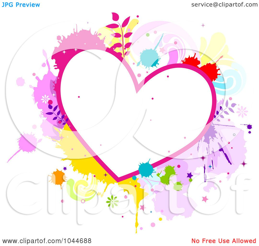 Color Splatter Background Colorful Splatter Heart Frame