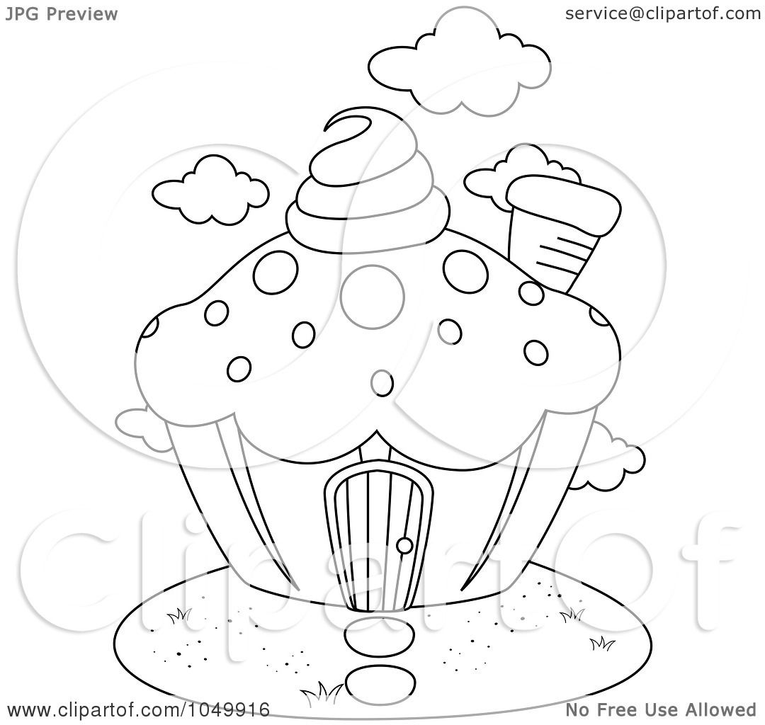 royalty free rf clip art illustration of a coloring page outline of a cupcake house by bnp. Black Bedroom Furniture Sets. Home Design Ideas