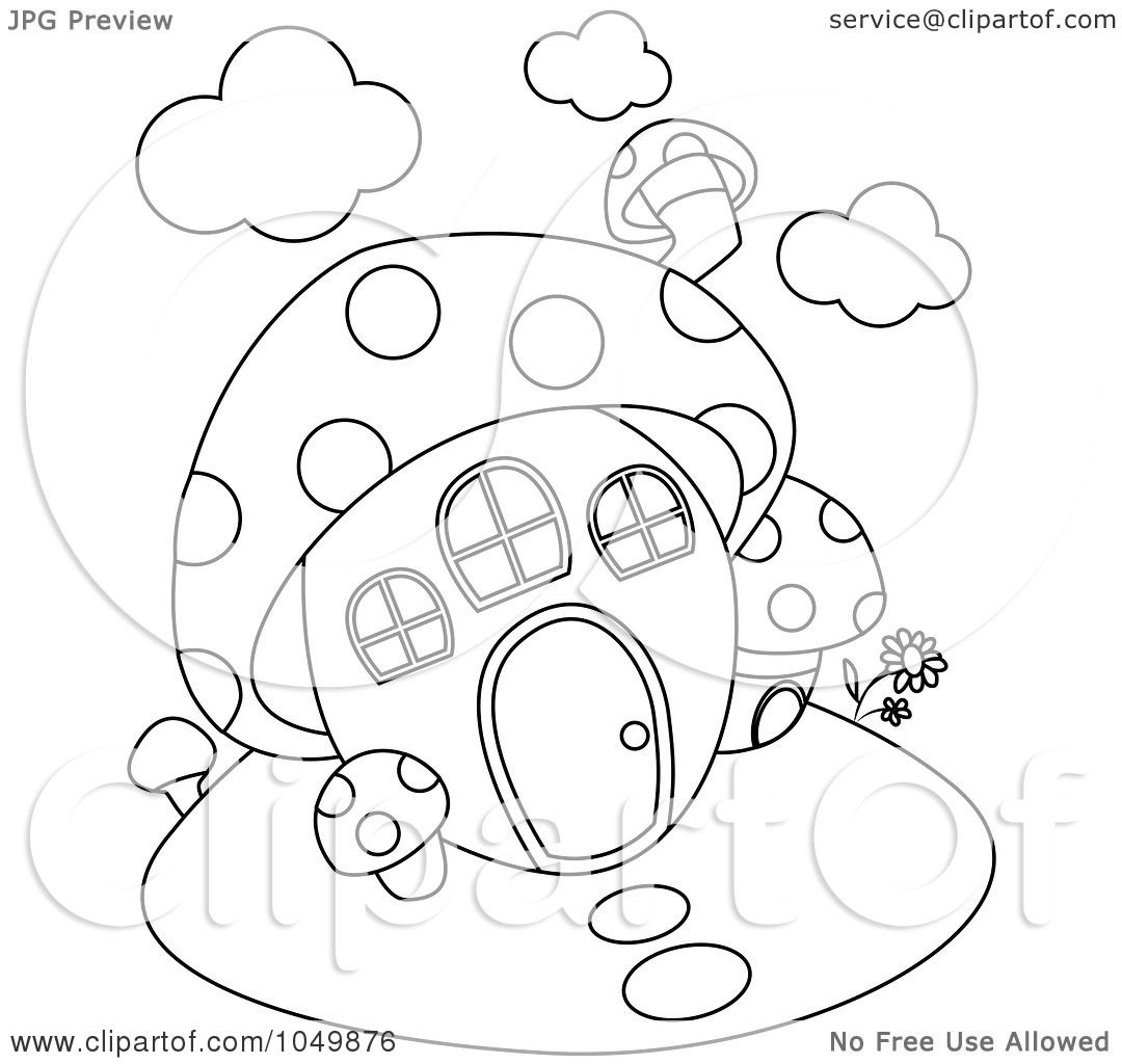 Royalty Free RF Clip Art Illustration Of A Coloring Page Outline Mushroom House By BNP Design Studio