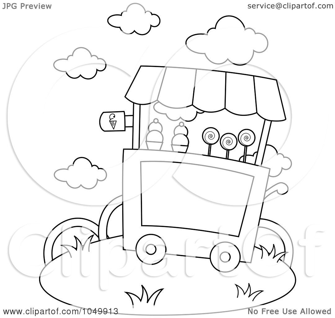 Free coloring pages ice cream sundae - Royalty Free Rf Clip Art Illustration Of A Coloring Page Outline Of An Ice Cream Cart By Bnp Design Studio