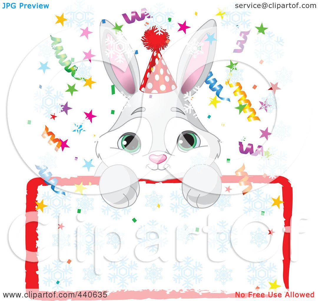 Royalty Free RF Clip Art Illustration Of A Cute Bunny Birthday Party Invitation