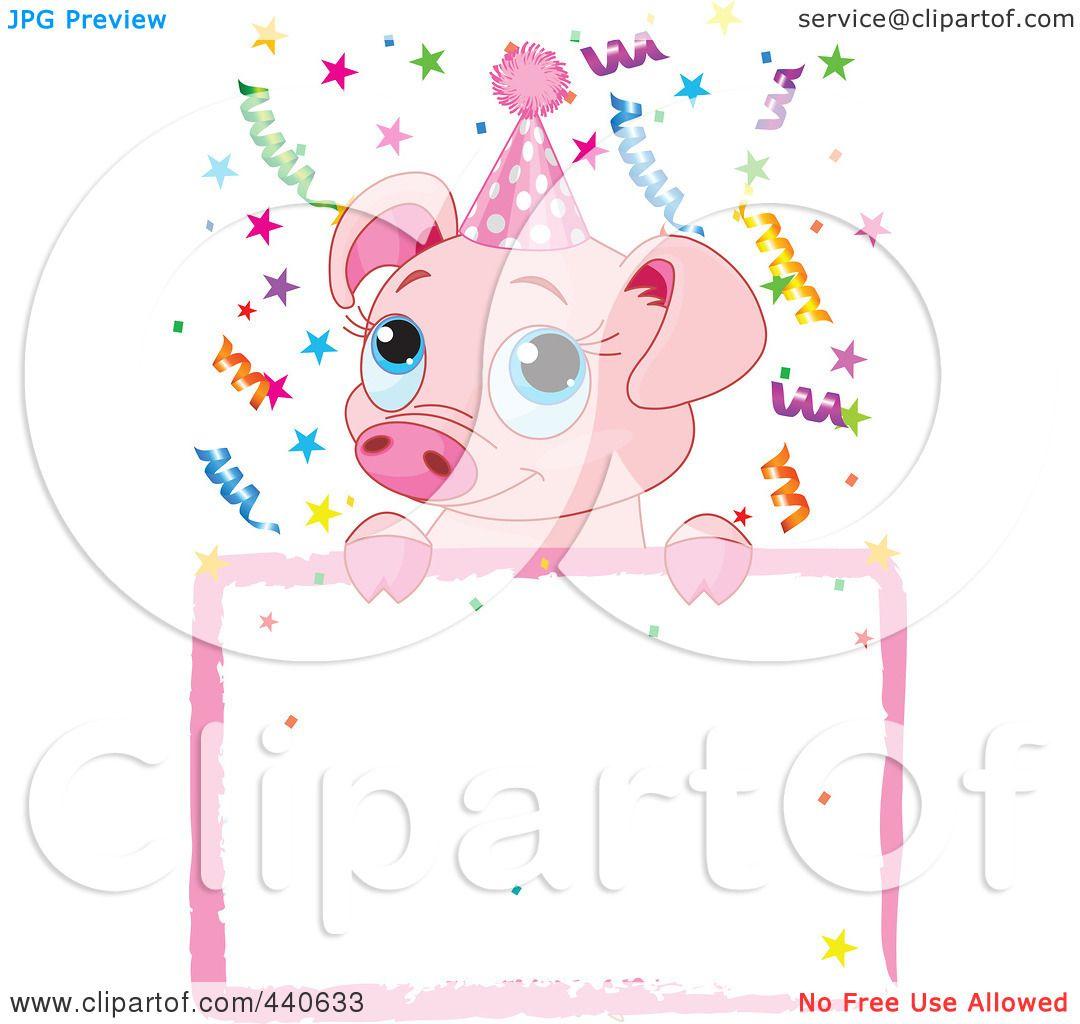 RoyaltyFree RF Clip Art Illustration of a Cute Pig Birthday – Pig Birthday Party Invitations