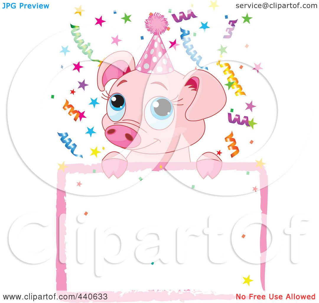Royalty-Free (RF) Clip Art Illustration of a Cute Pig Birthday ...