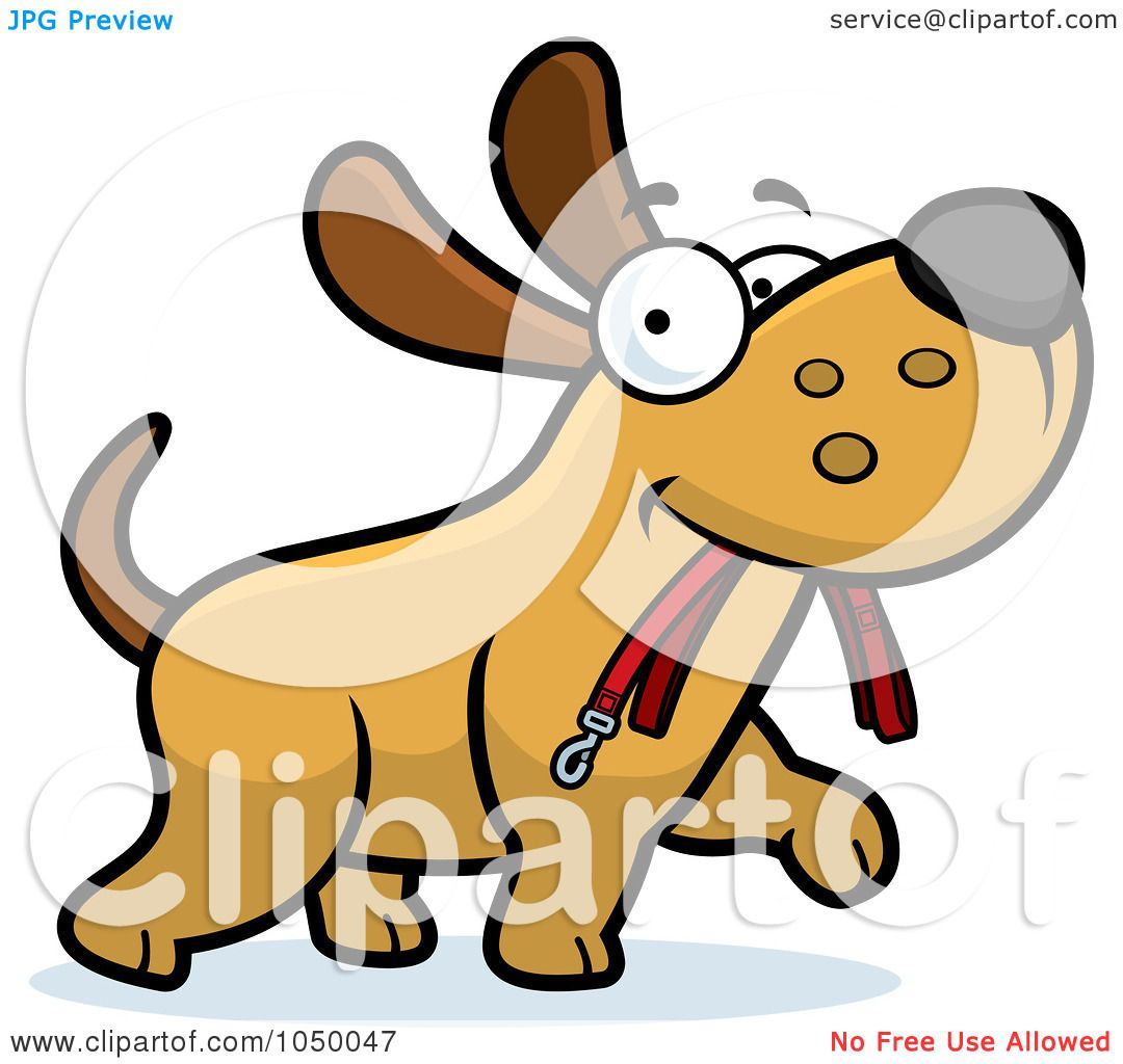 Dog with leash clipart