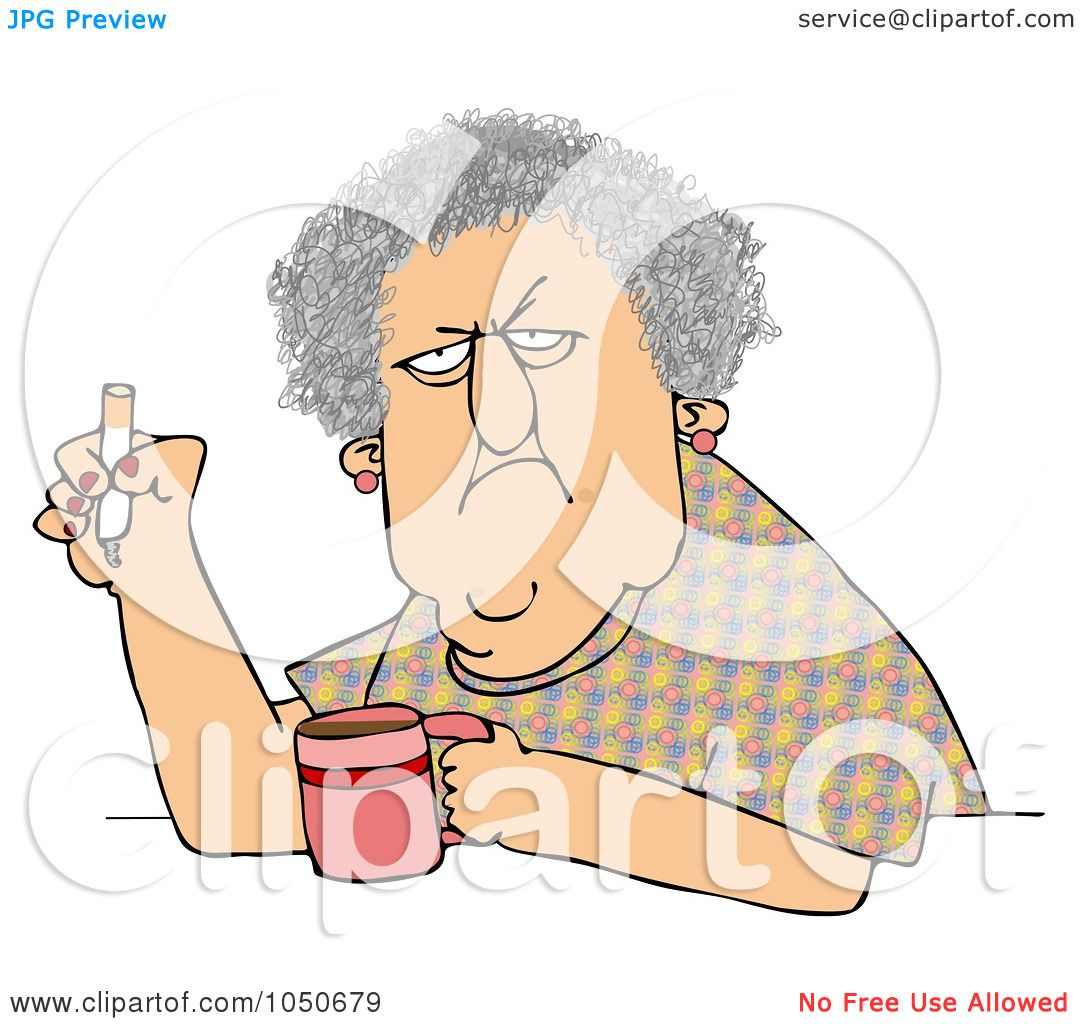 Art Illustration Grumpy Old Woman Smoking Cigarette Over Coffee