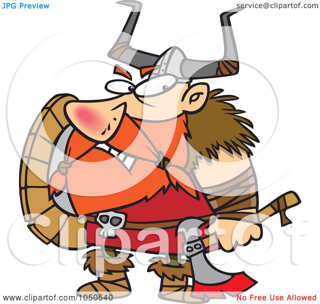 royalty free rf clip art illustration of a grumpy viking holding